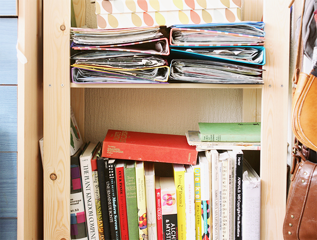 folders, orla kiely box, and books on ikea shelving unit