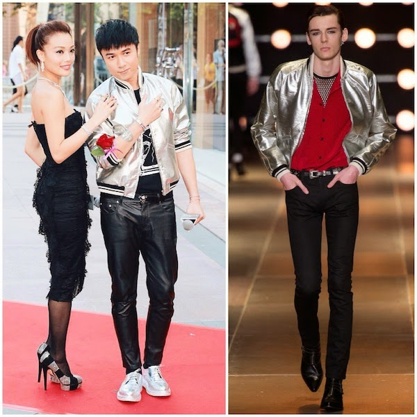 Joey Yung and Leo Ku Kui Kei in Saint Laurent by Hedi Slimane Spring Summer 2014 silver baseball varsity jacket
