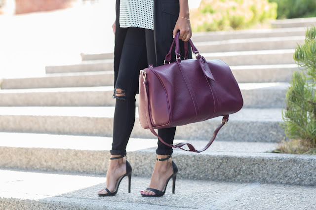 sole society bag, travel bag, black heels, j. brand jeans, azalea duster