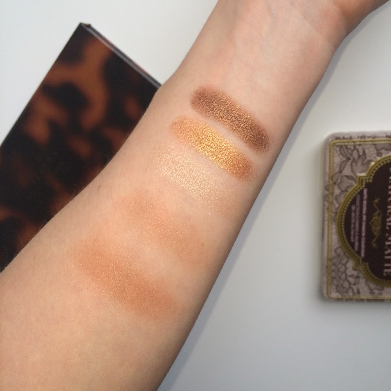 Estee Lauder Bronze Goddess Palette swatches on fair skin