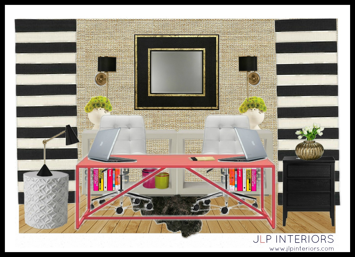 I Am In Love With The Desk Sconces Mirror And Those Black White Stripes Wanted To Design A Space That Was Sophisticated Stylish But