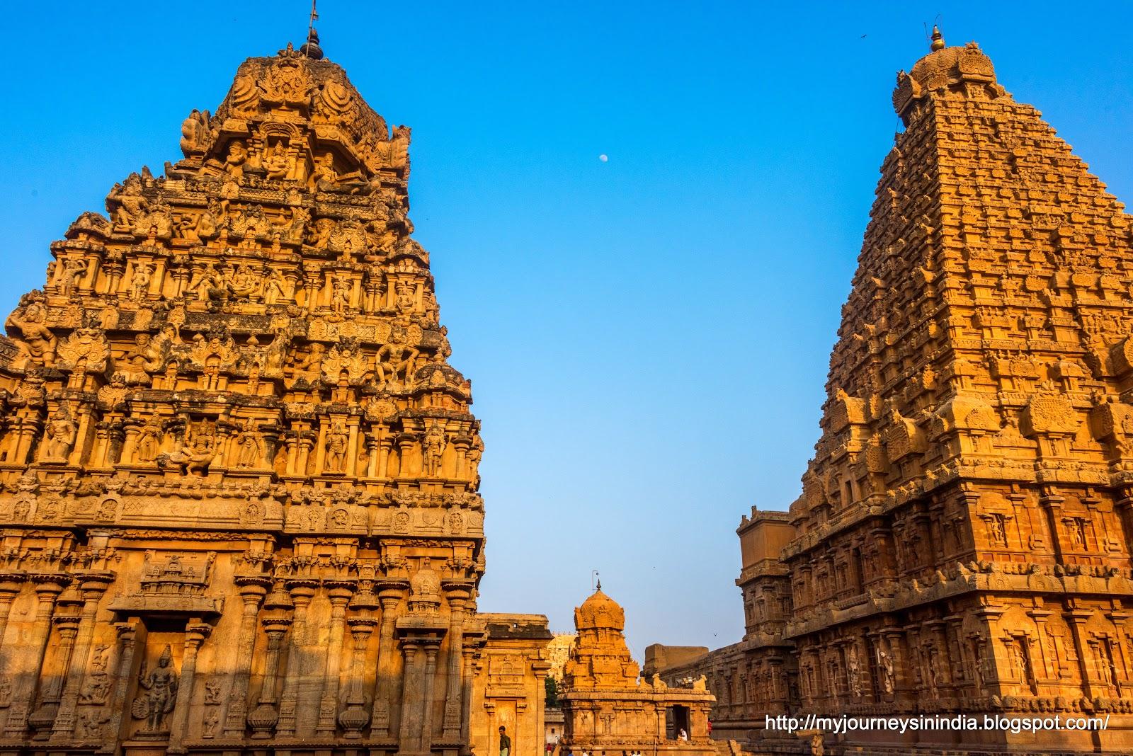 Thanjavur Brihadeeswarar Temple Twin Tower and Moon