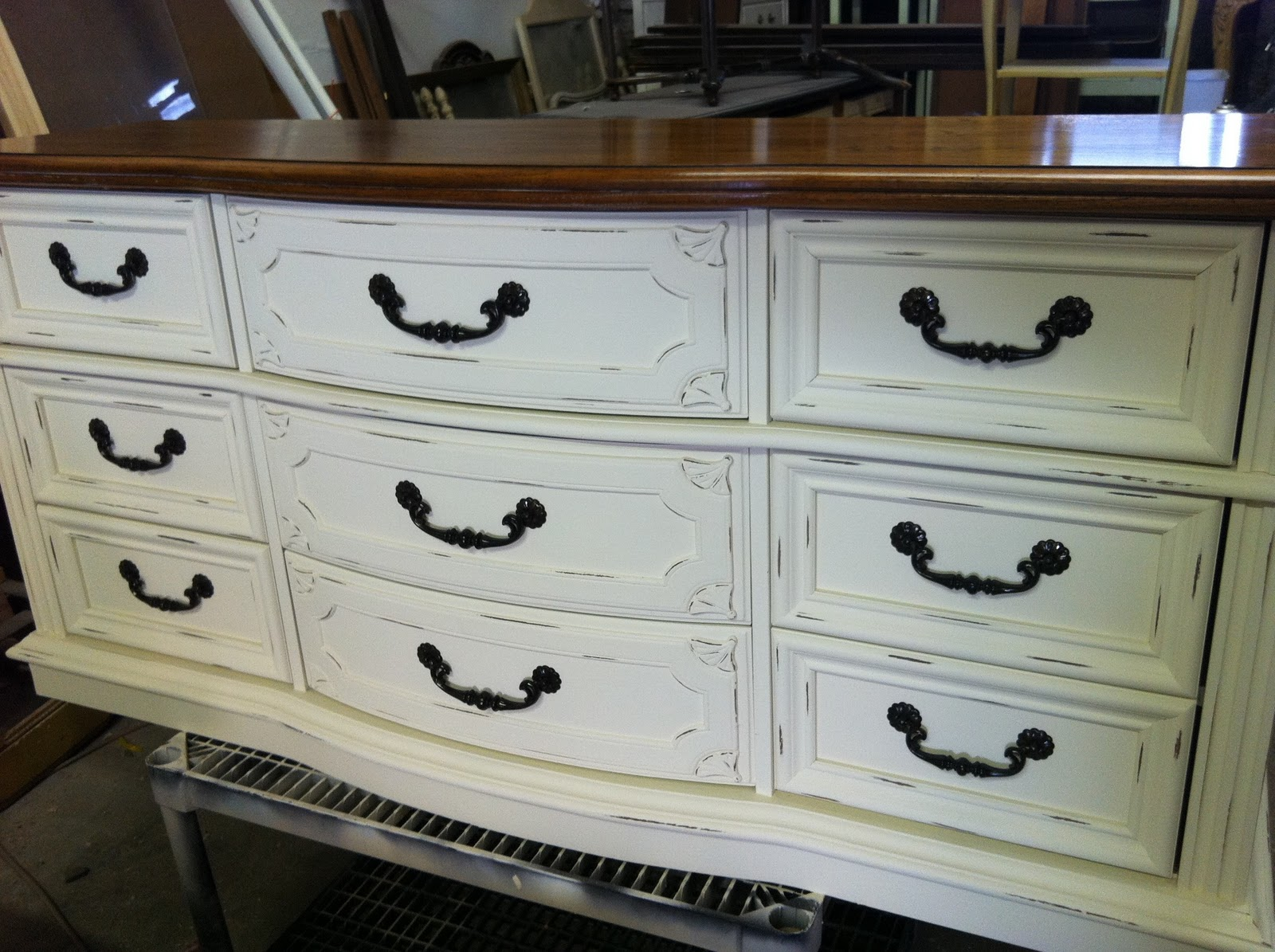 The Funkie Munkie Furniture Two Tone Old White Dresser