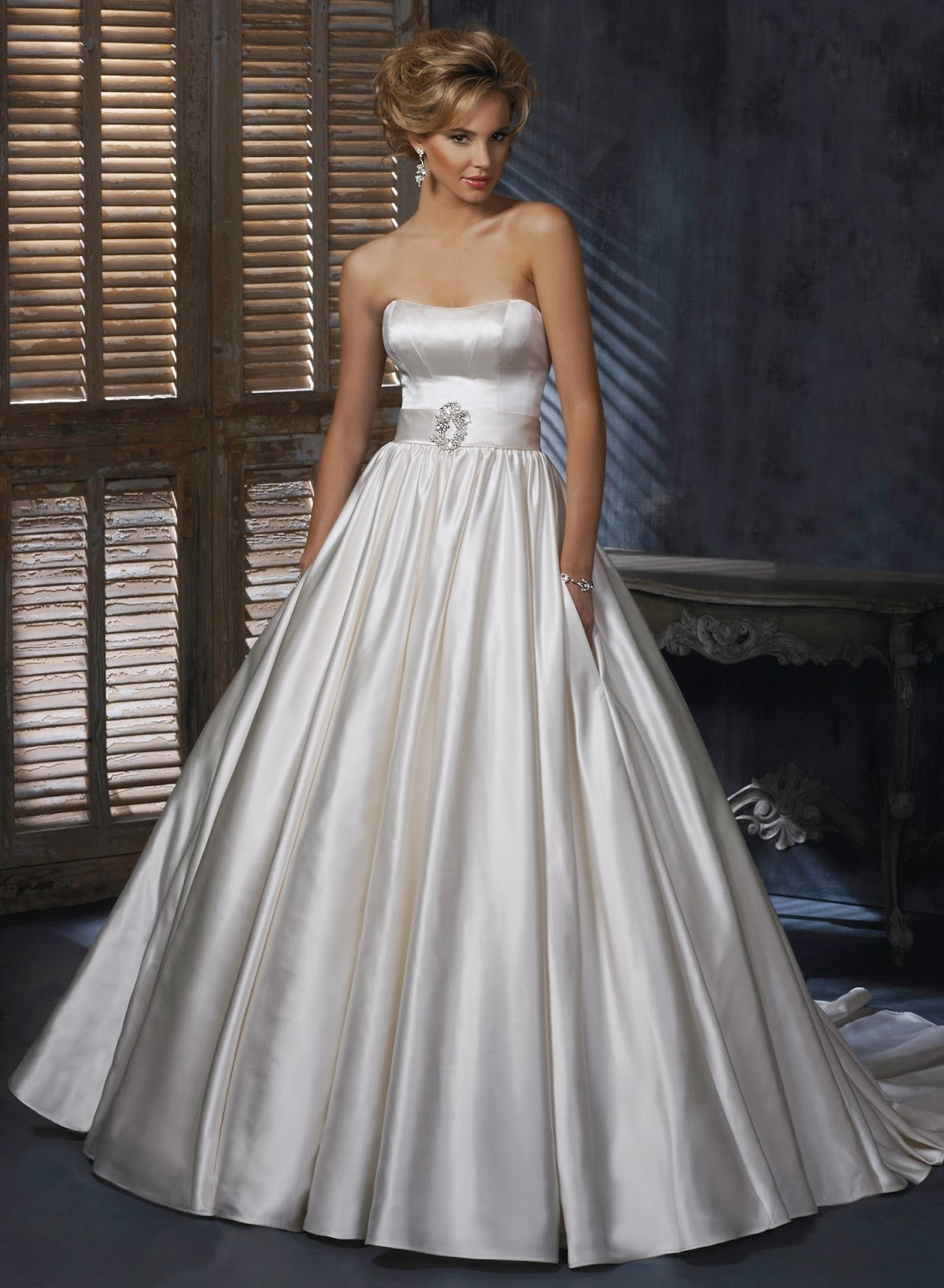 Beautiful satin wedding dress with belt wedding concept for Satin belt for wedding dress