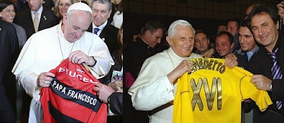two popes with football shirts