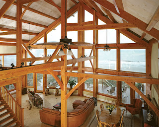 oceanfront timber frame great room