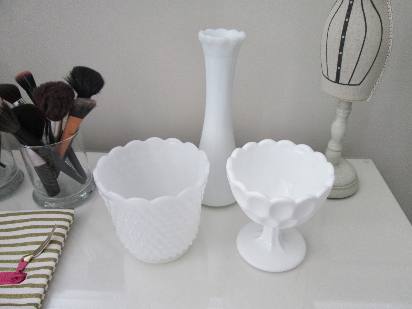 Thrift store home decor milk glass