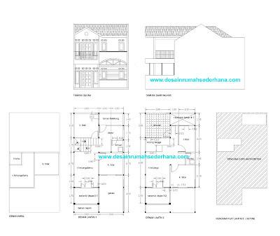 Gambar Desain Rumah Kopel KPR-BTN Type 21/72 Posisi di Tengah