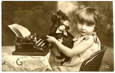 Old Photo French Girl Typewriter