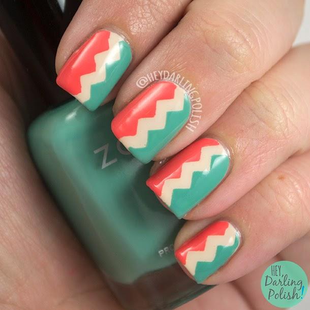 nails, nail art, nail polish, tri polish challenge, hey darling polish, zig zags, nail vinyls