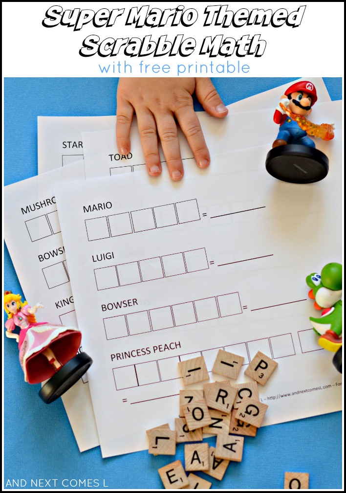 Super Mario Themed Scrabble Math {Free Printable} | And Next Comes L