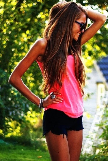 Long hair Style + Pink shirt + Black skirt