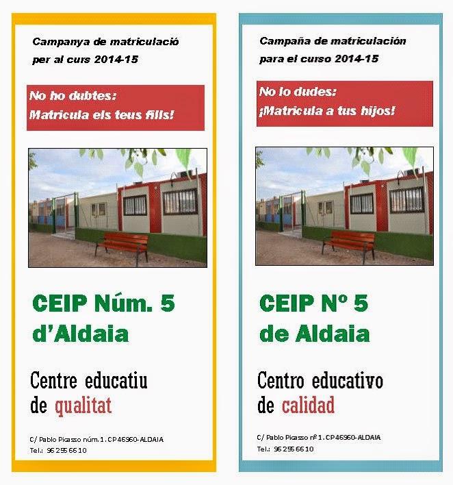 Tríptic campanya matrícula CEIP Núm. 5 curs 2014-15