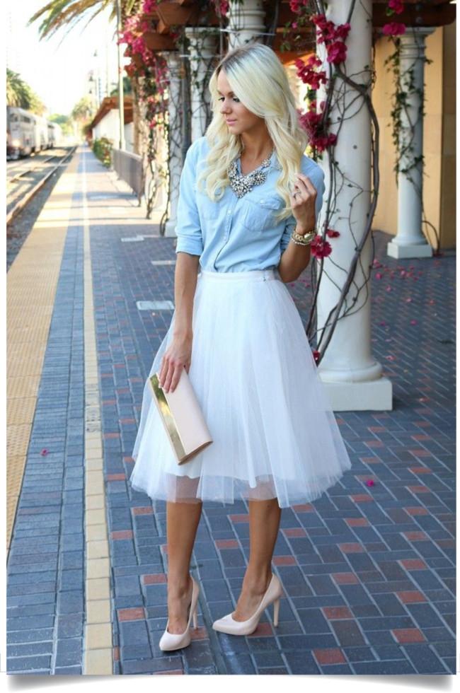 blog de moda, roupas da moda, saias da moda, camisas femininas, camisa jeans com saia tule
