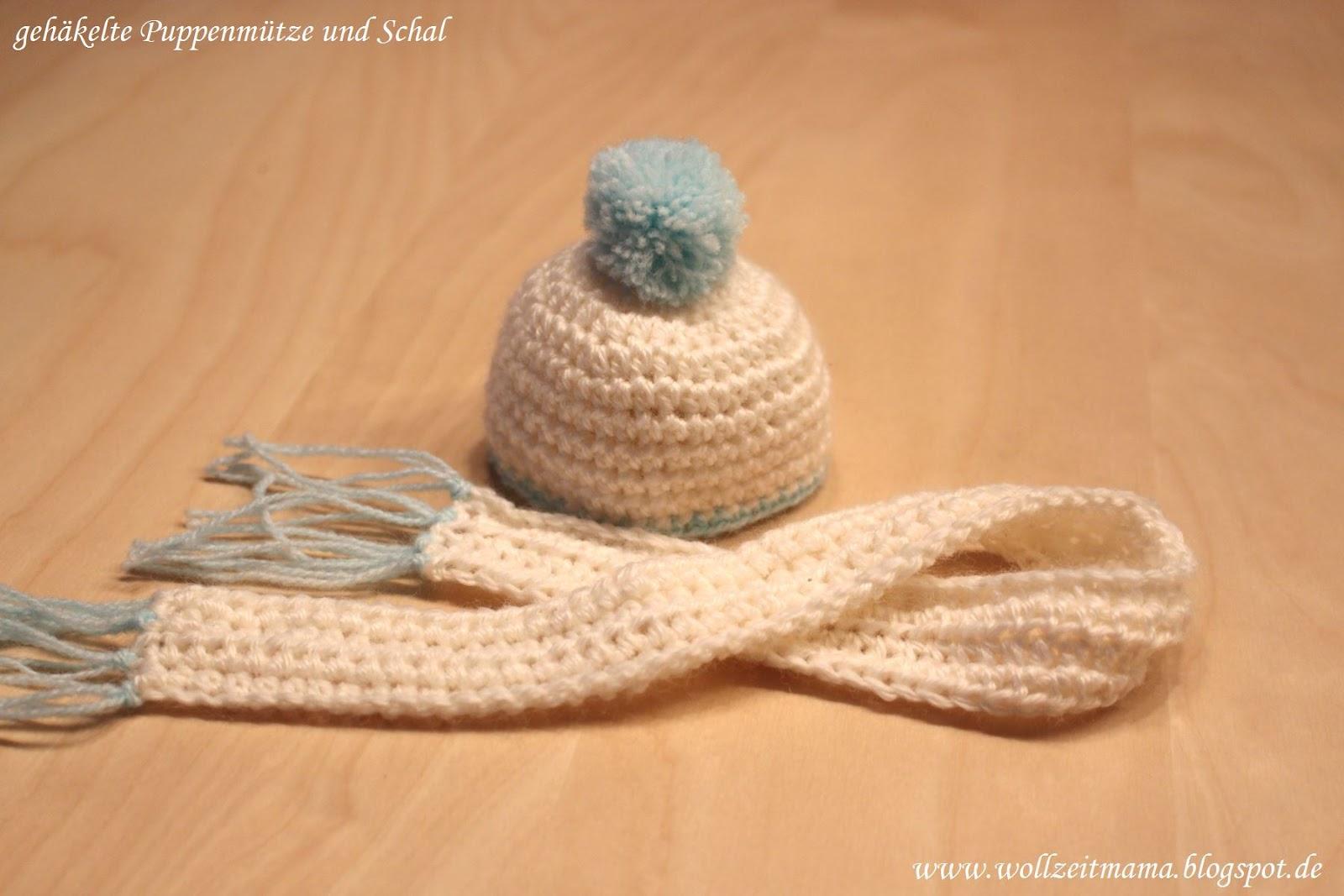 Wollzeitmama: Gehäkelte Pudelmütze und Schal für Puppen und Kuscheltiere
