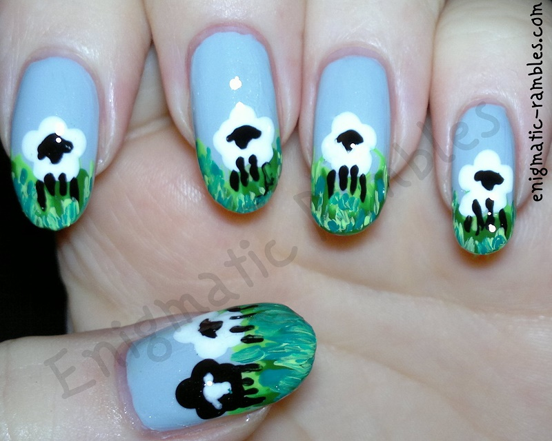 spring-lamb-sheep-nails-nail-art-freehand-grass-eyeko-rain-polish