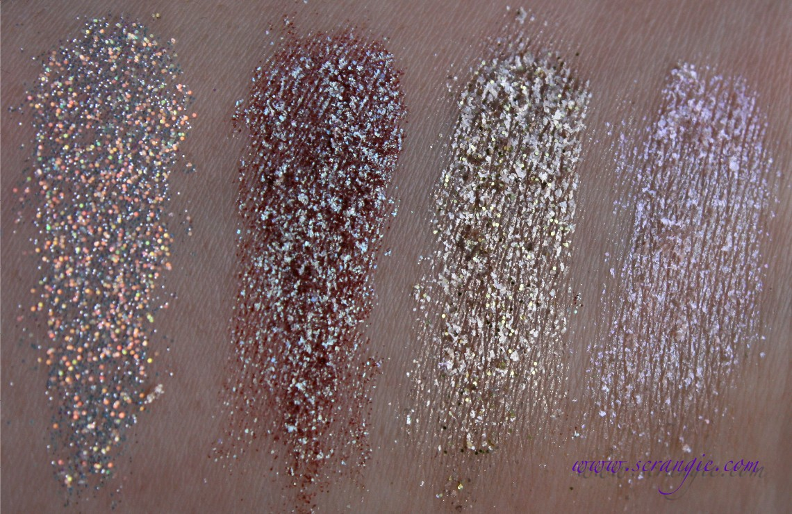 Scrangie Too Faced Glamour Dust Glitter Pigment Swatches