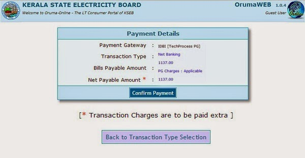Confirm Payment Page Screenshot, Pay KSEB Electricity Bill Online