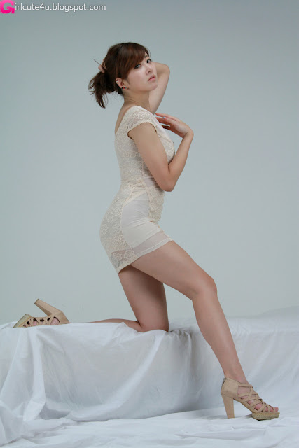 9 Jung Se On - Beige Mini Dress-very cute asian girl-girlcute4u.blogspot.com