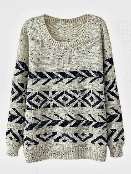 Adorable Round Neck Balck & White Warm Sweater