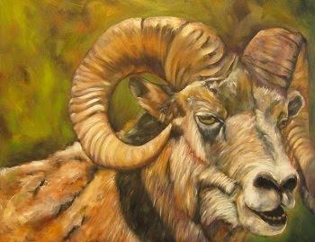 """Rocky Mountain Warrior"",  longhorn sheep/Ram"