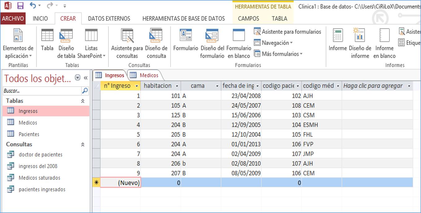 Ejercicios Practicos: Diseño y creación de Base de datos : CLÍNICA
