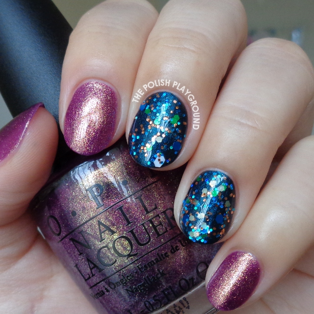Golden Purple with Blue Glitter Layering Nail Art