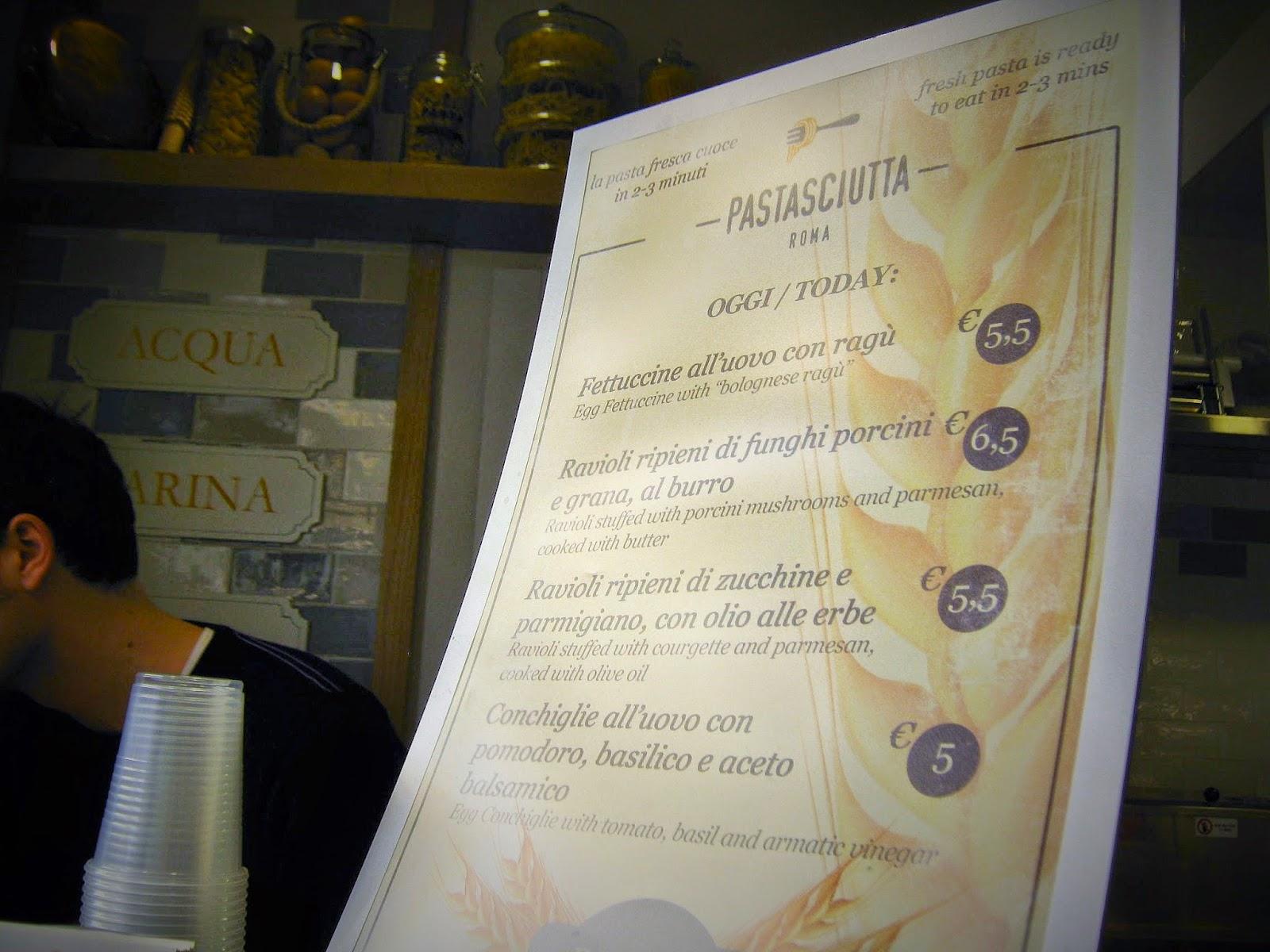 menu Pastasciutta
