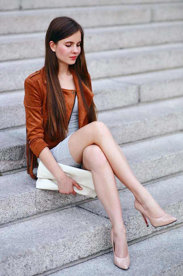 Ariadna Majewska  Brown%2Bsuede%2Bjacket%2Bnude%2Btights%2Blegs%2Boutfit