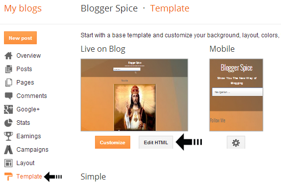 Where to find css javascript and html code of blogger for Template for blogger html code