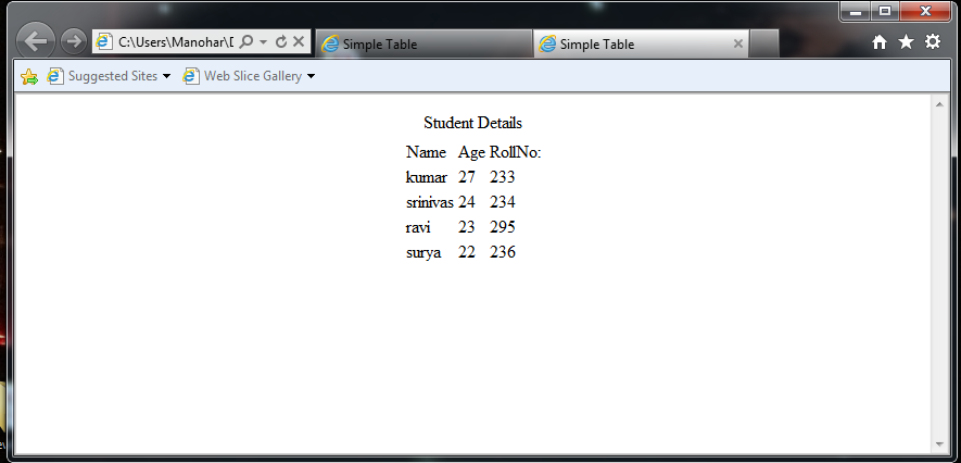 Simple attributes of table for Html table title