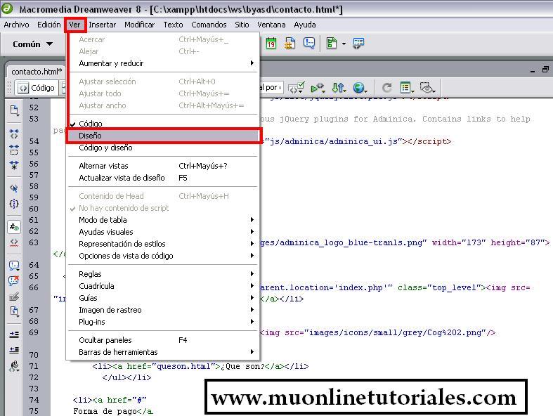 Configuración diseño en Dreamweaver