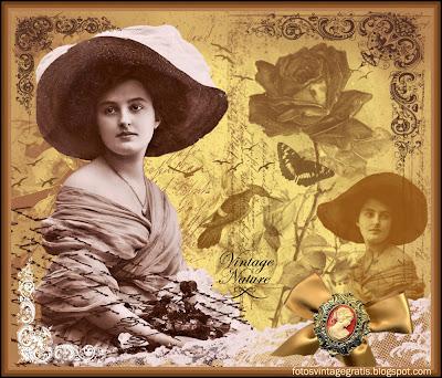 fondo vintage con dama victoriana, pájaros y flores