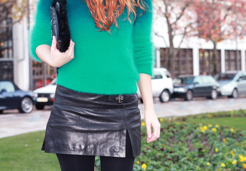 angora sweater and split skirt leather