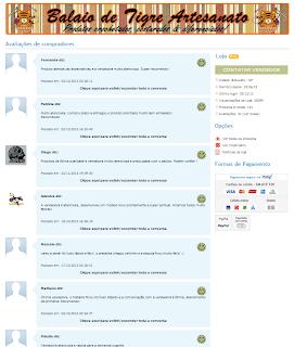 Página de avaliações da Balaio de Tigre Artesanato