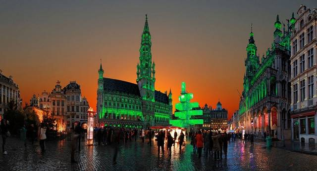 Christmas tree in high-tech style on the Grand Place in Brussels, Belgium