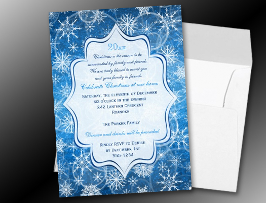 Blue White Snowflakes Holiday Party Invitations