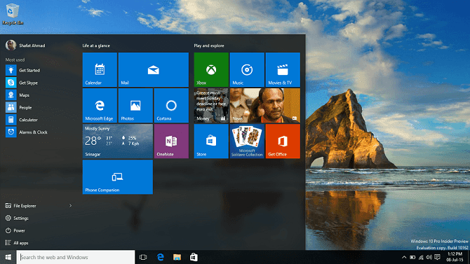 Windows 10 start on PC