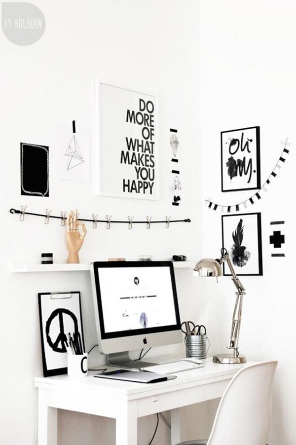 black and white workspace con quadri e citazioni - monitor apple mac