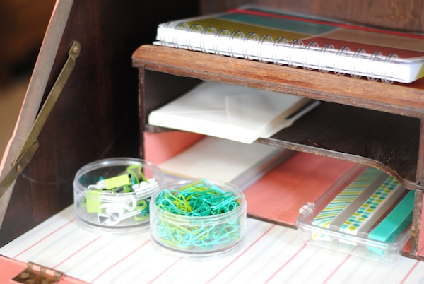 organize home office desk. Oh, I Also Lined The Bottom With Some Scrap Book Paper And Ended Up Painting A Few Places Inside Desk, Just To Pretty It Bit. Organize Home Office Desk