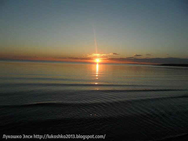озеро Балхаш, закат на озере