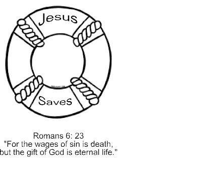 Jesus Saves Life Preserver Coloring Page