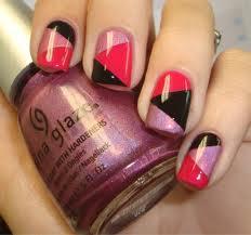 Classy Pink and Black Nail Art