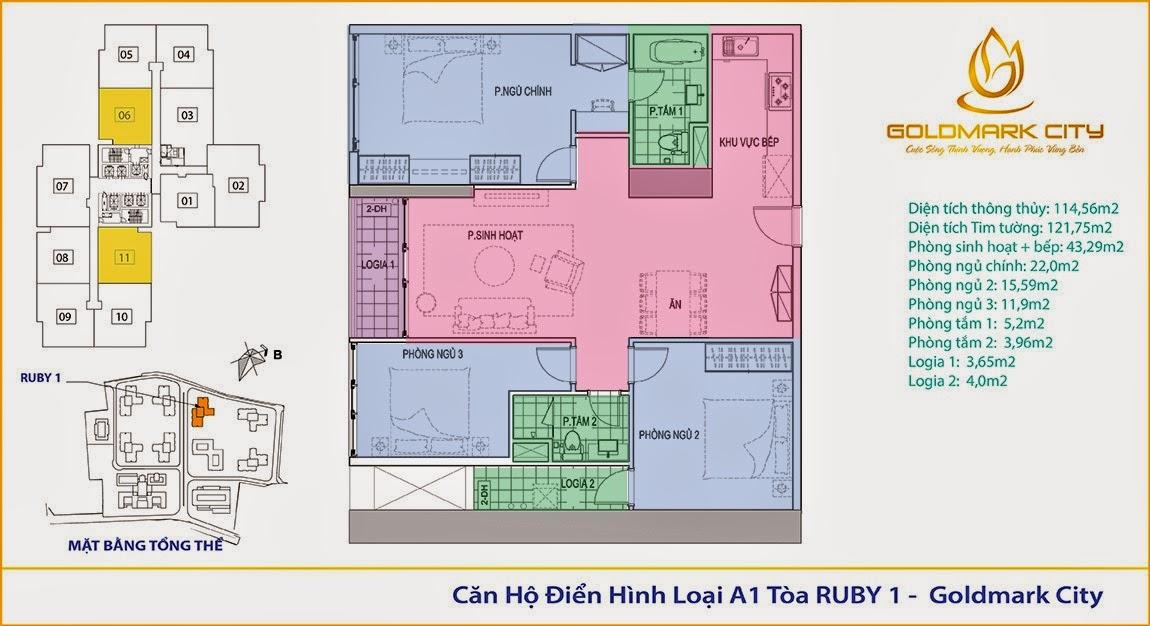 mặt bằng chung cư goldmark city ruby 101