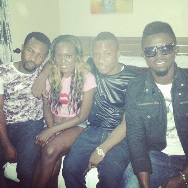 Rugged Baba Gets a Kiss from Beverly Osu and Charly Owoh During  Birthday