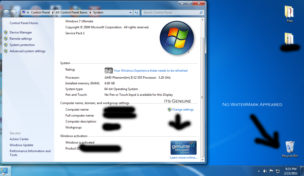 Windows 7 Build 7601 not genuine after installing Service Pack 1 FIX