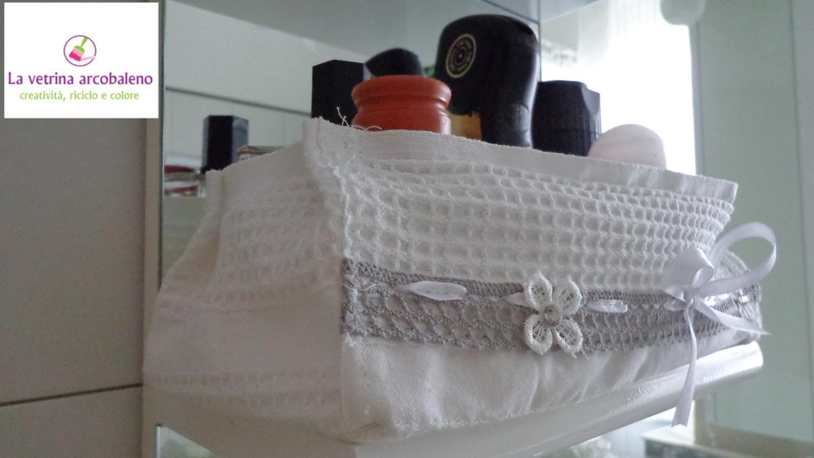 La vetrina arcobaleno cestini in stoffa da bagno - Cestini all uncinetto per il bagno ...