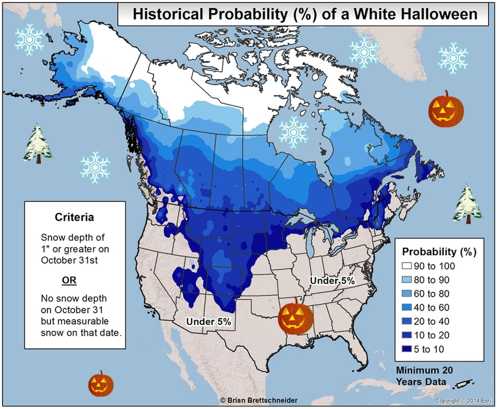 Historical probability  of white Halloween