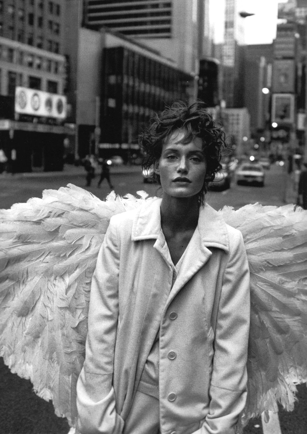 Amber Valletta in Angel | Harper's Bazaar December 1993 (photography: Peter Lindbergh, styling: Paul Cavaco)