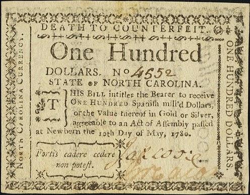 100 долларов Северной Каролины, 1780